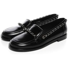 CHANEL Leather Chain Loafers 36.5 Black featuring polyvore, fashion, shoes, loafers, chain shoes, black loafer shoes, kohl womens shoes, chanel loafers and famous footwear