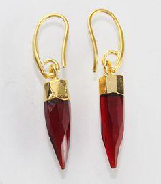 Zj-1825 Summer Sale !! Beautiful Garnet  24k Gold Plated Earring Jewelry #Handmade #DropDangle