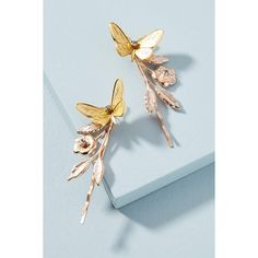 Miss Ellie Mariposa Bobby Pin Set ($138) ❤ liked on Polyvore featuring accessories, hair accessories, gold, butterfly hair pins, vintage hair accessories, vintage hair pins, bobby hair pins and butterfly hair accessories