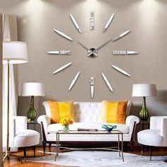 Large DIY Wall Clock - Black,Red,Gray,Blue,Pink,Silvery,Gold,Coffee   Ideas for men Awesome Home Dads Creative Offices Wall Art Style Posts Father Decor Cute Ideas Shops Mom How to make large numbers modern stairs website Design kit Products Desk With Photos Gift Ideas For Him Her Decorations Picture Buy For Sale online Shopping living room diy horloge murale cadeaux idées originales mode Achat Acheter en ligne Site de vente france USA Canada Australia