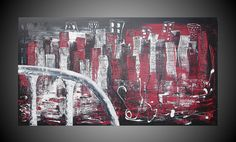 Abstract City Skyline Acrylic Painting on large by acrylkreativ, $270.00