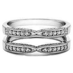 Sterling Silver 1ct Round Cubic Zirconia Solitaire Wedding Ring and Guard Set (Sterling Silver, Size 7), Women's, White
