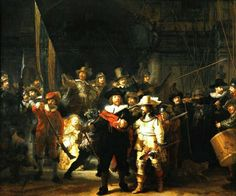 Rembrandt van Rijn, The night watch. Great printmaker and portrait artist. He made over 50 paintings and prints of himself.This is a civic guard group. Baroque in Holland.