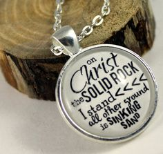 Pendant necklace On Christ the Solid Rock I stand, all other ground is sinking sand Vintage Style Christian Pendant & Chain Hymn Drop
