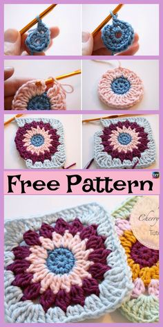 10 Beautiful Crochet Granny Squares - Free Patterns These crochet granny squares are pretty and very simple project to crochet.You could crochet them together and make a very colorful blanket or something Granny Square Crochet Pattern, Crochet Flower Patterns, Crochet Stitches Patterns, Crochet Squares, Crochet Granny, Crochet Motif, Crochet Doilies, Stitch Patterns, Granny Squares