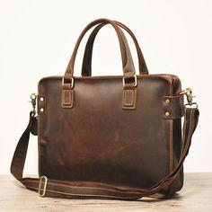Rozbiyo Bernoza Multi Functional Leather Shoulder Briefcase In Brown Leather Duffle Bag, Leather Laptop Bag, Leather Briefcase, Handbags For Men, Leather Accessories, Leather Gifts, Men's Leather, Leather Backpacks, Retirement