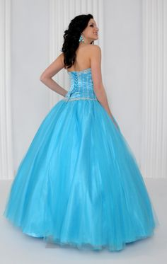 Timeless Sweetheart Beaded Strapless Top Sky Blue Ball Gown Prom [2028]