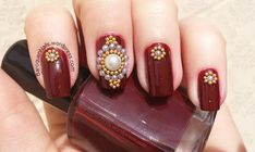 Easy red jeweled nail design