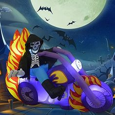 Fancy Appearance Design?GOOSH Halloween Grim Reaper on the Motorcycle come with LED lights built inside. The Grim Reaper on the Motorcycle made children's love at first sight. Beside Halloween, it can be used as any other holiday decoration. Installed in the courtyard to enjoy Holiday with your family and spreading a happiness atmosphere to your neighborhoods. Halloween Costume Shop, Halloween Diy, Halloween Decorations, Modern Halloween, Orange Led Lights, Inflatable Christmas Tree, Seasonal Decor, Holiday Decor, Yard Ornaments