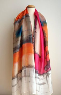 RESERVED for Sabine. Very large silk scarf. Hand Painted Dress, Painted Silk, Embroidery Suits Punjabi, Silk Art, Silk Shawl, Textiles, Fabric Painting, Silk Scarves, How To Wear Scarves