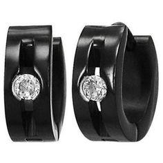 CZ Hoop Huggie Black Stainless Steel Earrings