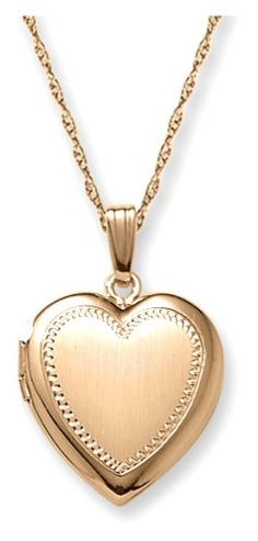 14k Yellow Gold Filled Engraved Heart Locket, 18″