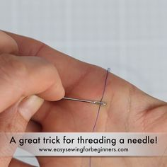 Here's a great little trick for threading a needle. Perfect if your eyesight is terrible and you have trouble getting that pesky tip of the thread through the eye of the needle. Do you know any other tips like this for how to thread a needle?