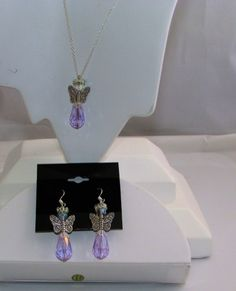 Lovely silver and crystal angel pendant sets   JewelryMADEfromHOME - on ArtFire