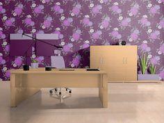 Papel pintado con diseño de flores y patrón floral EDEM 824-29 en morado oscuro violeta gris claro blanco 70 cm