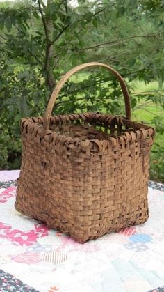Antique Original Shaker Primitive Oak Hickory Splint Basket AAFA Square Tall…