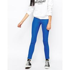 Cheap Monday Mid Spray Jeans ($20) ❤ liked on Polyvore featuring jeans, zip blue, super stretch skinny jeans, skinny fit jeans, stretch jeans, white stretch jeans and skinny jeans