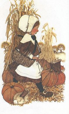 "Happy Thanksgiving from Holly Hobbie <> ""A bright little greeting – A warm pleasant thought, Of the wonderful pleasure, Your friendship has brought. And tucked in this greeting, Are fond wishes, too, For joy on Thanksgiving, Especially for you!"""