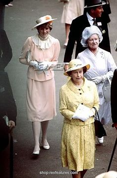 June 17, 1981: Lady Diana Spencer & The Queen Mother and Queen Elizabeth II arriving at Ascot.