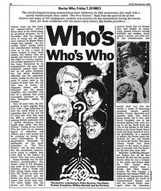 Doctor Who Radio Times Article 1983-11-19-1, From the archives of the Timelords and Whovians