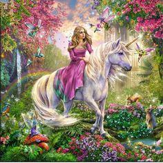 Fantasy Magical Creatures Dragons And Unicorns Art Unicorn And Fairies, Unicorn Art, Fantasy Kunst, Fantasy Art, 100 Piece Puzzles, Jigsaw Puzzles, Unicorn Princess, Unicorn Pictures, Ravensburger Puzzle
