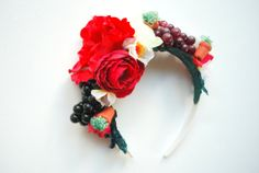 frida kahlo bridal flower headband crown halo by threecuteflowers, $35.00
