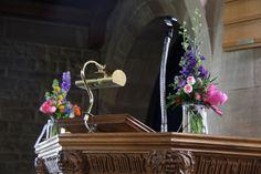 Jam Jars of flowers dressed the Pulpit