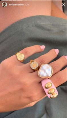 Funky Jewelry, Cute Jewelry, Jewelry Box, Jewelry Accessories, Jewlery, Piercings, Cerámica Ideas, Nail Ring, Chunky Rings
