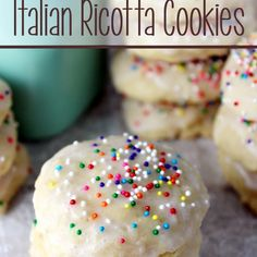 Italian Ricotta Cookies Recipe with butter, granulated sugar, eggs, ricotta cheese, vanilla extract, all-purpose flour, baking powder, baking soda, milk, almond extract, sprinkles