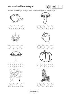 Auditieve analyse - Hoeveel woordstukjes hoor je? Kleur evenveel rondjes. [www.jufanke.nl] Worksheets For Kids, Bees, Crafts For Kids, Teacher, Autumn, Math, School, Speech Language Therapy, Crafts For Children
