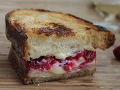 Roasted Cranberry & Brie Grilled Cheese - delicious way to use all the cranberry sauce leftovers.