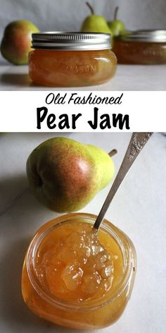 Old Fashioned Pear Jam Recipe ~ A simple old time recipe for homemade pear preserves with no added pectin. All you need is a bit of sugar and lemon to put up the pear harvest with the luscious pear spread. Pear Preserves, Canned Pears, Pyrus, Pear Recipes, Recipes With Pears, Jam And Jelly, Canning Recipes, Easy Canning, Canning Tips