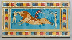 Reproduction of the Bull Leapers Fresco Attributed to Emile Gilliéron Late Minoan IIIA, ca. Metropolitan Museum of Art Ancient Art, Ancient History, Art History, Fresco, Sea Peoples, Minoan Art, Heroic Age, Mycenaean, Bronze Age