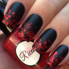 Nails (black specks on red for bridesmaids and maid of honor)