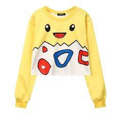 7e23fe8e4777 Women s Squirtle Jigglypuff Pikachu Crop Top Harajuku Loose 3D Pokemon  cartoon Print Sweatshirt Ladies  Pullover WH-043