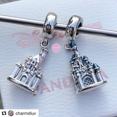 The new and the old Disney castle charm 😍 both so beautiful! 💖 i really need this on my Disney Pandora bracelet 😍… Pandora Travel Charms, Disney Pandora Bracelet, Pandora Jewelry Box, Disney Jewelry, Pandora Bracelets, Pandora Pandora, Charm Bracelets, Silver Bracelets, Simple Jewelry