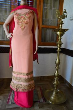 Light peach with pink combo Georgette salwar embroidery work with golden colour zari work 7019277192 Light Peach, Golden Color, Ethnic, College, Embroidery, Colour, Suits, Formal Dresses, Pink