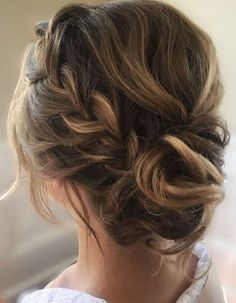 side braid | crown braid | updo | long hairstyle | highlight | chestnut brown | with hair extensions