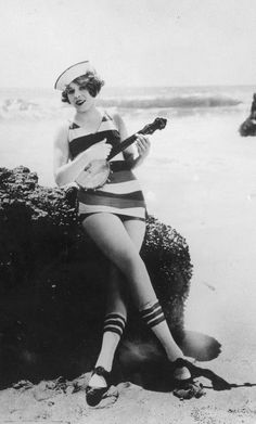 """Hello Sailor"" 1920s found photo girl on beach with guitar ukulele banjo bathing suit hat stripe socks shoes"