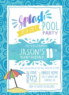 Pool Party Birthday Invitation Free Shipping Is Included With