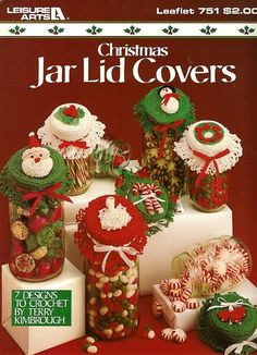 X685 Crochet PATTERN ONLY Christmas Jar Lid Covers Ornaments Santa Snowman