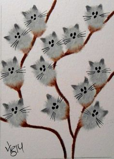 Katzen in Kunst und Illustration malen . - Katzen in Kunst und Illustration malen Katzen - Cat Painting, Fingerprint Art, Animal Art, Art Drawings, Drawings, Art Projects, Whimsical Art, Art, Cat Drawing