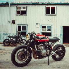 Honda dirt bike based cafe racer custom with red CB750 SOHC had tank and…
