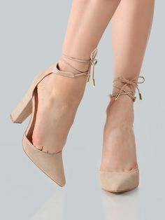 MakeMeChic - MAKEMECHIC Point Toe Ankle Wrap Heels NUDE - AdoreWe.com