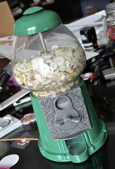 Really cute idea to store your vintage buttons!