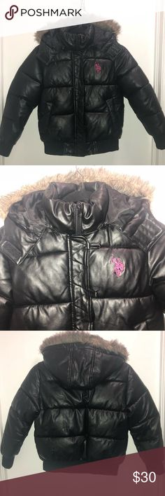 Girls US POLO leather puffer jacket Us polo assn.  Girls faux leather puffer coat  Removable faux fur trim hood  Buttons have been taken off - see pics (not noticeable at all when worn)  EUC Size medium 8/10 U.S. Polo Assn. Jackets & Coats Puffers
