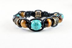 Afghanistan eye of Tiger-high-end turquoise leather bracelet