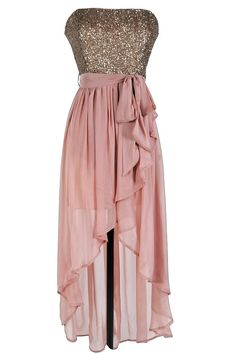 Number 1 pick for the bridesmaids | rose pink sequin high low strapless dress this dramatic sparkly dress ...