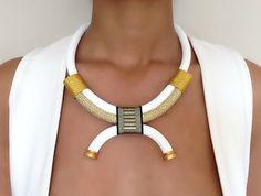 White Arabesque Necklace - ethnic necklace - rope necklace - ethnic jewelry - jewelry for women - african necklace - tribal necklace - Rope Jewelry, Rope Necklace, Tribal Necklace, Fabric Jewelry, Jewelery, Beaded Necklace, Pearl Necklaces, Geek Jewelry, Layered Necklace