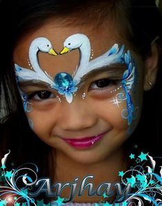 face painting by yvonne   Swan princess face paint idea.
